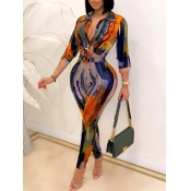 Lovely Trendy Turndown Collar Print Multicolor Two Piece Pants Set
