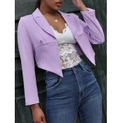 Lovely Trendy Turndown Collar Asymmetrical Purple