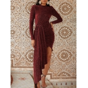 lovely Party O Neck Flounce Design Wine Red Ankle