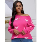 lovely Casual Butterfly Print Rose Red Sweater