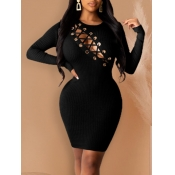 lovely Sexy O Neck Bandage Design Black Knee Lengt