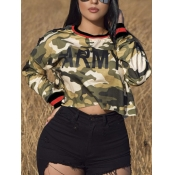 lovely Street O Neck Camo Print Green Hoodie