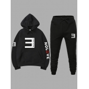 lovely Casual Hooded Collar Letter Print Black Men Two-piece Pants Set