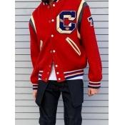 Lovely Trendy Print Buttons Design Red Men Jacket