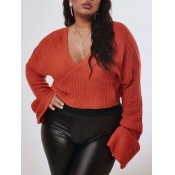 lovely Casual V Neck Loose Orange Plus Size Sweate