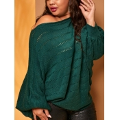 lovely Casual Batwing Sleeves Loose Blackish Green