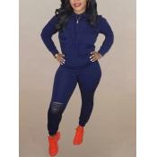 Lovely Casual Hooded Collar Zipper Design Broken Holes Deep Blue Two Piece Pants Set