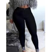 lovely Casual Basic Skinny Black Jeans