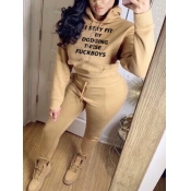 lovely Casual O Neck Long Sleeve Khaki Two Piece P