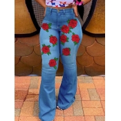lovely Street High-waisted Rose Embroidered Blue J