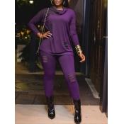 lovely Casual Half A Turtleneck Long Sleeve Purple