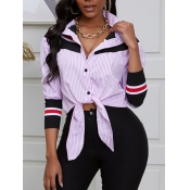 lovely Trendy Shirt Collar Striped Print Pink Blou