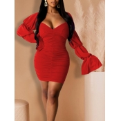 Lovely Trendy Fold Design Red Mini Dress