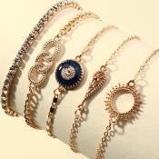 lovely Trendy 8-piece Gold Bracelet