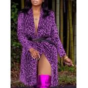 Lovely Stylish Leopard Print Purple Long Coat