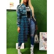 lovely Trendy Camo Print Patchwork Blue Long Coat