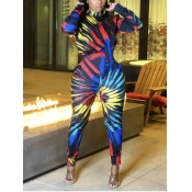 lovely Trendy O Neck Tie-dye Multicolor One-piece