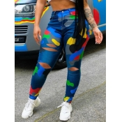 lovely Trendy Camo Print Hollow-out Blue Pants