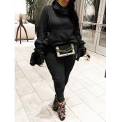 lovely Trendy Turtleneck Fold Design Black Plus Si