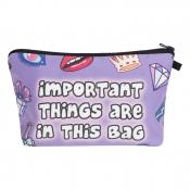 Lovely Trendy Print Purple Makeup Bag