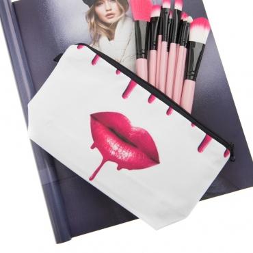 Lovely Trendy Lip Print White Makeup Bag