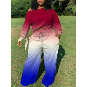 Lovely Trendy Gradient Loose Wine Red Plus Size Tw