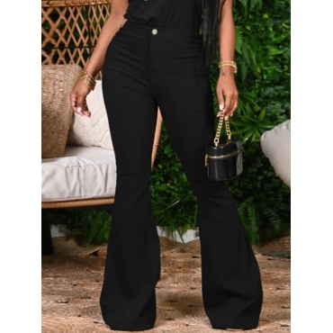 Lovely Casual Basic Flared Black Jeans