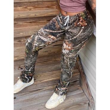 Lovely Street Print Skinny Brown Pants