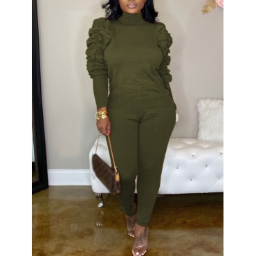Lovely Stylish Turtleneck Fold Design Army Green T