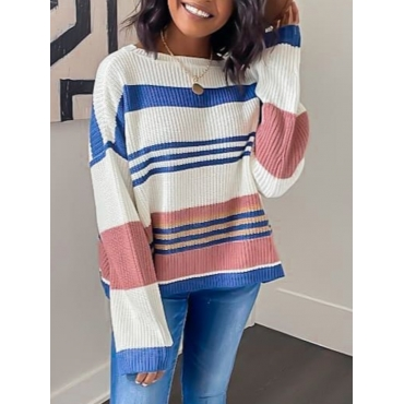 lovely Leisure O Neck Striped Blue Sweater - $17.99