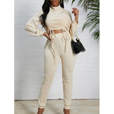 Lovely Casual Turtleneck Drawstring Apricot Two Pi