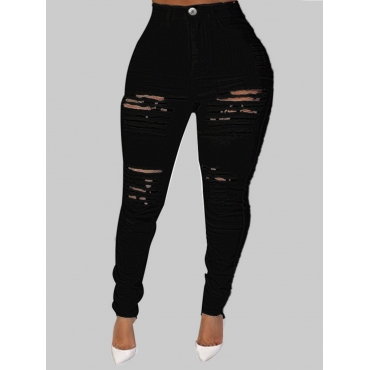 Lovely Street Hollow-out Black Plus Size Jeans
