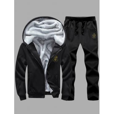 LW Men Hooded Collar Zipper Design Pants Set