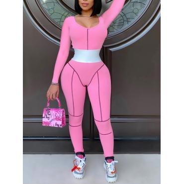Lovely Sportswear U Neck Patchwork Pink One-piece