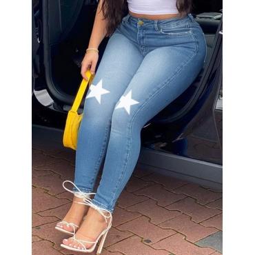 Lovely Trendy Pentagram Print Blue Jeans