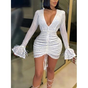 LW SXY V Neck Fold Design White Mini Dress