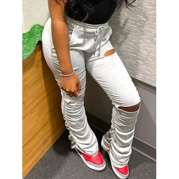 Lovely Casual Fold Design Hollow-out White Pants