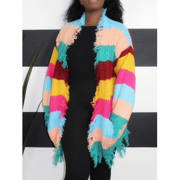 Lovely Casual Rainbow Striped Multicolor Cardigan