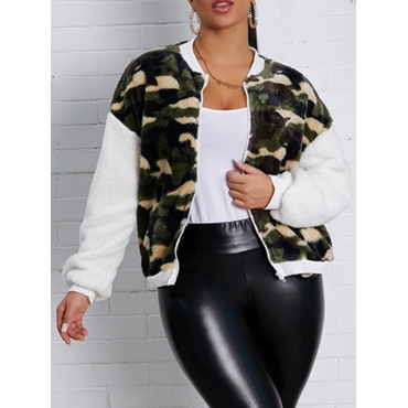 Lovely Street Camo Print Patchwork Army Green Faux