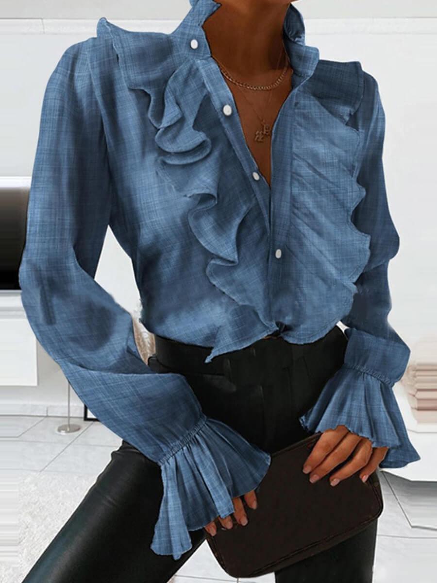 LW Lovely Trendy Flounce Design Sapphir Blouse