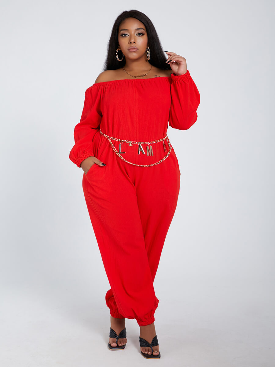 Lovely Leisure Loose Red Plus Size One-piece Jumps