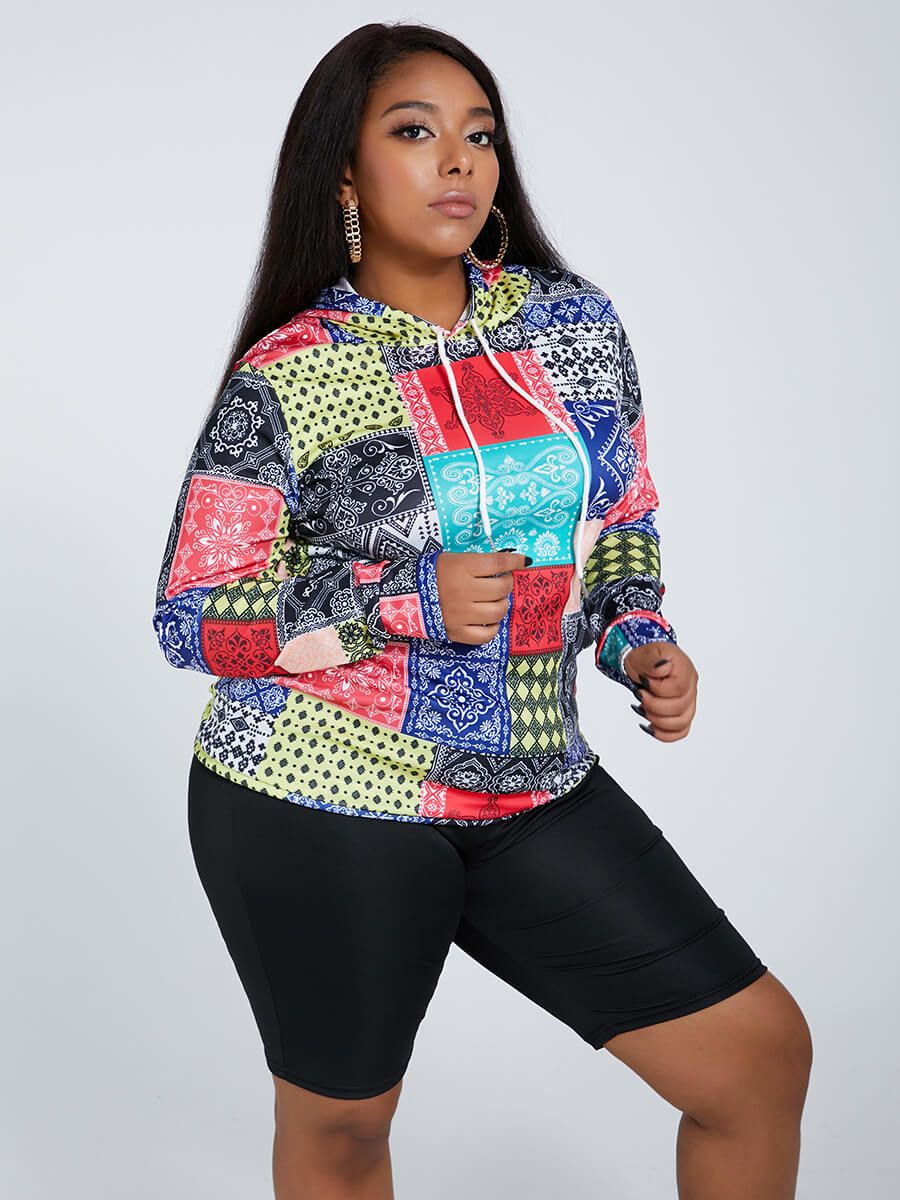 Lovely Trendy Hooded Collar Print Red Plus Size Ho