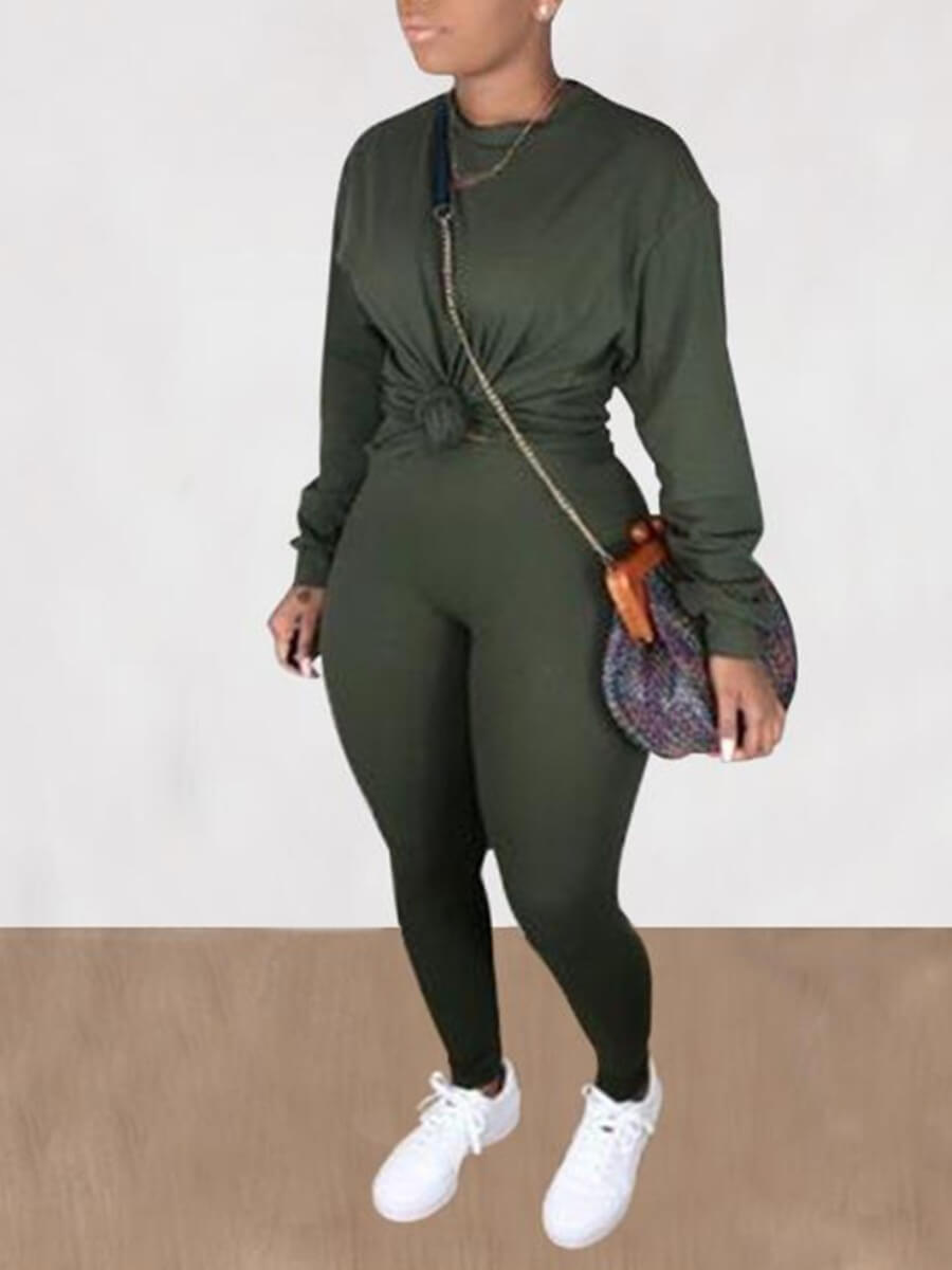 Lovely Casual O Neck Basic Green Plus Size Two-pie