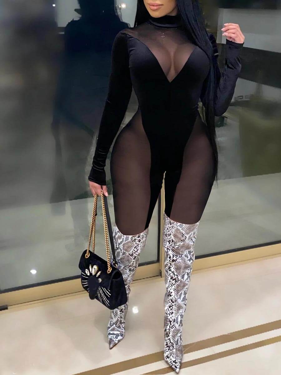 Lovely Sexy Mesh Stitching Black One-piece Jumpsui