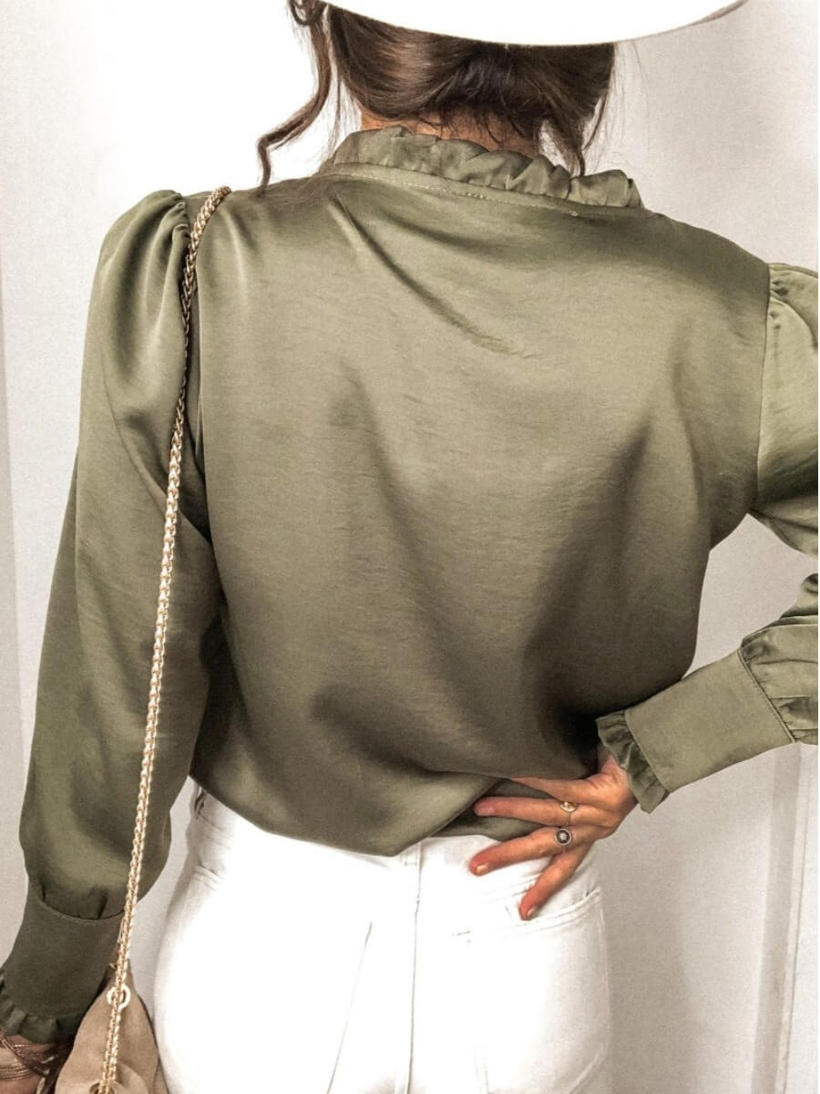 LW BASICS Formal V Neck Buttons Design Green Blouse