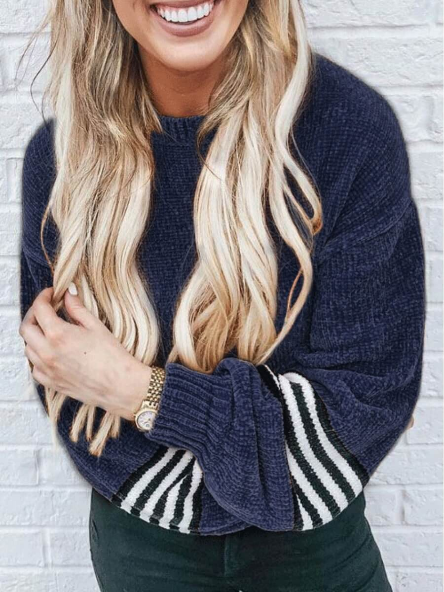 Lovely Chic Striped Patchwork Deep Blue Sweater