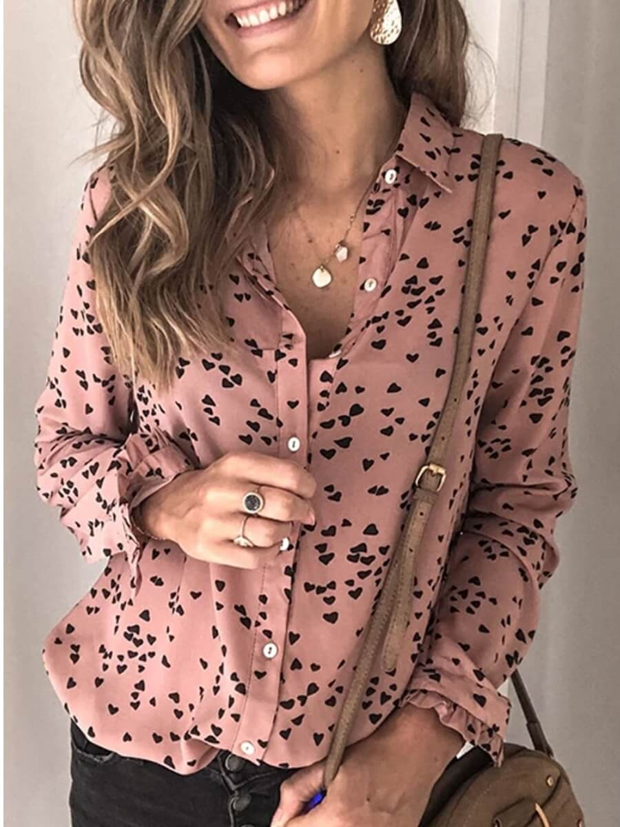 Lovely Formal Turndown Collar Print Dusty Pink Blo