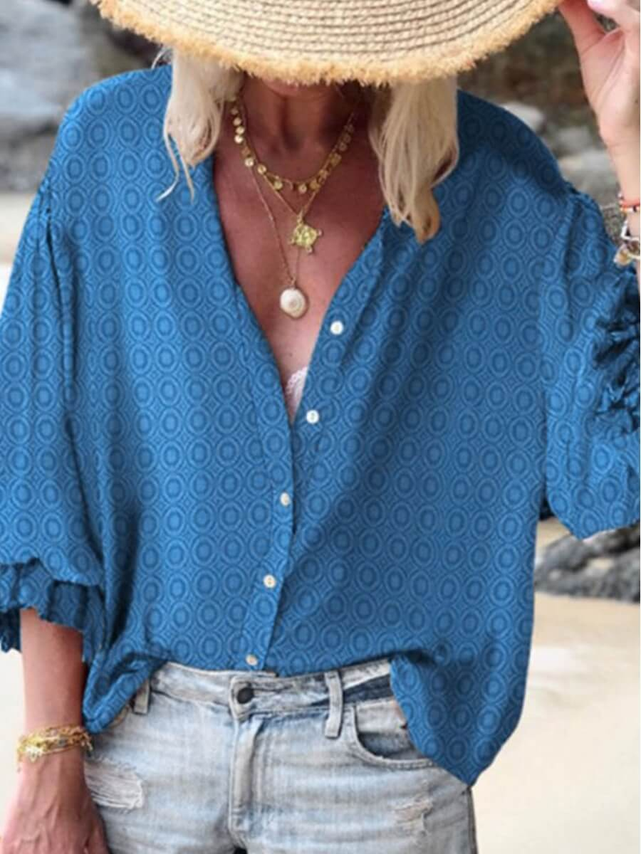 Lovely Casual V Neck Printed Loose Blue Blouse