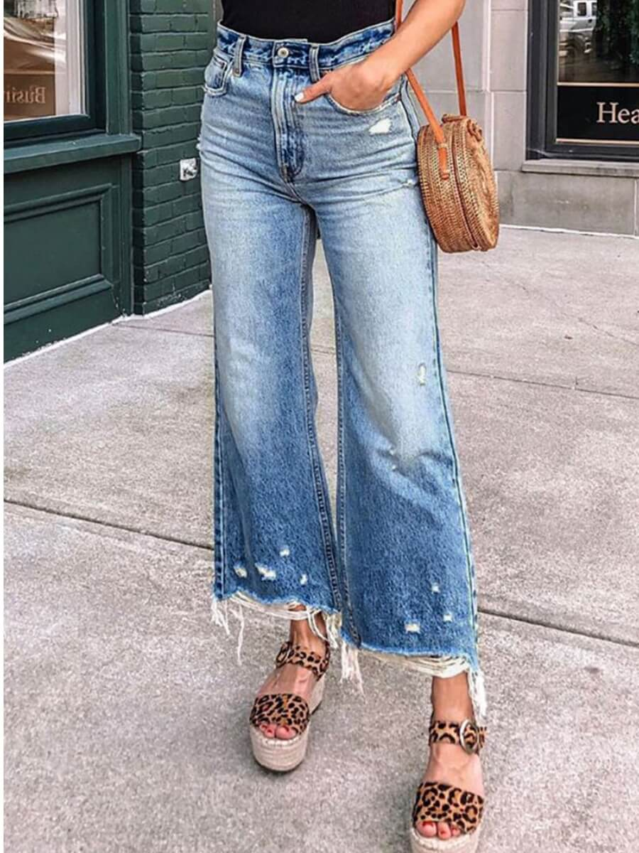 Lovely Casual Raw Edge Blue Flare Jeans