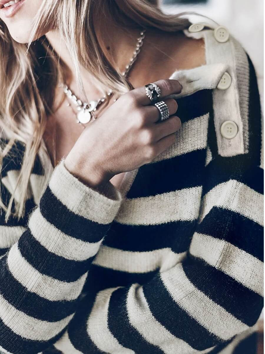 Lovely Casual V Neck Striped Black Sweater